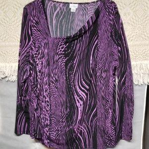 Beautiful black & purple long sleeved shirt.